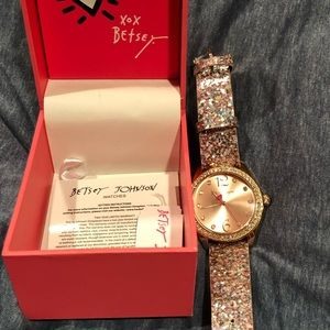 Betsey Johnson Glitter Watch new with box